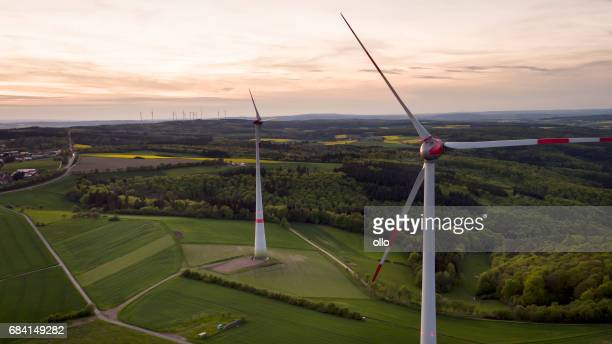 Wind park at dusk - aerial view
