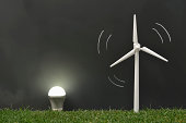 Wind power generation and lawn and blackboards and