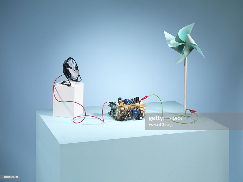 Fan, circuit board, wires, wind, turbine
