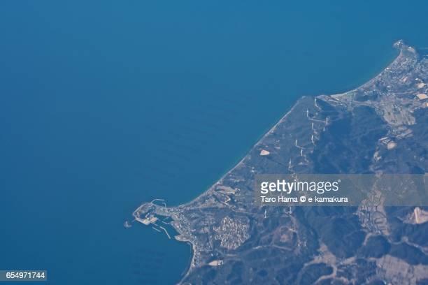 Wind power station in Awaji island, daytime aerial view from airplane