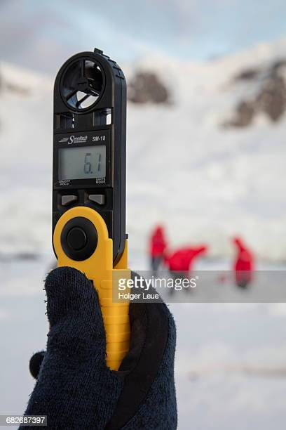 Wind speed indicator during Antarctic camping
