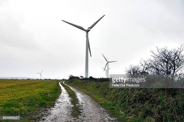 Wind turbine at Pointe de Corsen, Finistère region, France