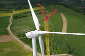 Wind Turbine Construction. Aerial view.