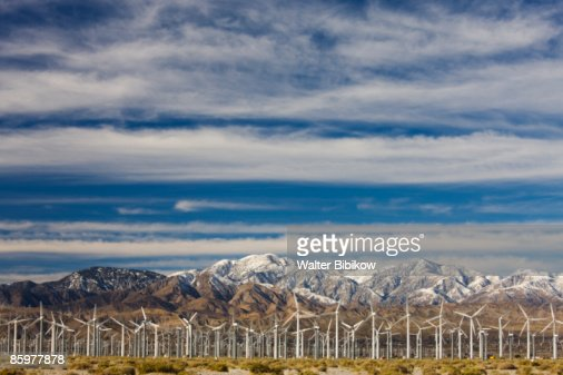 Wind Turbine Farm along North Indian Canyon Drive : Stock Photo