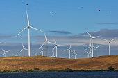 Wind Turbine Farm in the Montezuma Hills outside Rio Vista, California looking across the Sacramento River