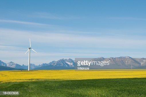 Wind turbine in a field amongst a mountain range