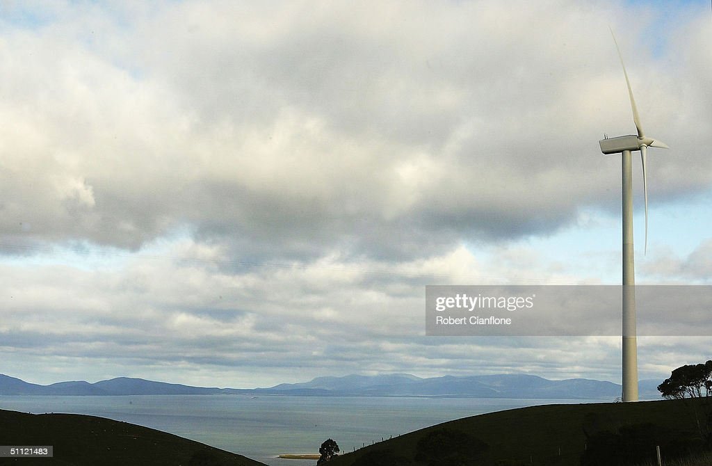 A wind turbine is pictured at Toora Wind Farm situated on Silcock's Hill in the South Gippsland region of Victoria on July 27 in Toora Australia The...