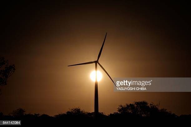 A wind turbine is seen at Vamcruz Windfarm developed by three energy companies including French renewable energy power plants operator Voltalia Group...