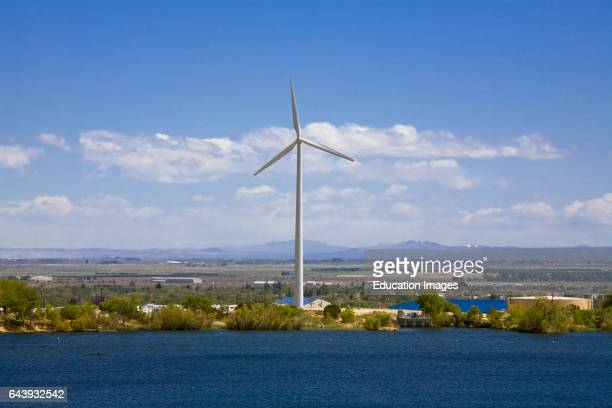 Wind turbine on Lake Palmdale The turbine powers the district's Lake Palmdale watertreatment plant Palmdale Los Angeles County California USA