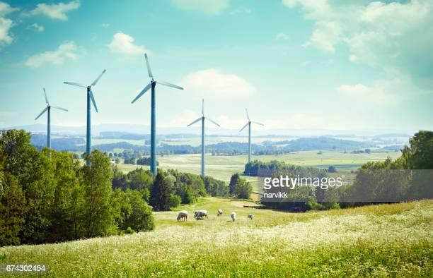 Wind turbine propellers in the landscape