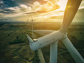 Wind turbine from aerial view. Sustainable development, environment friendly of wind turbine by giving renewable, sustainable, alternative energy.