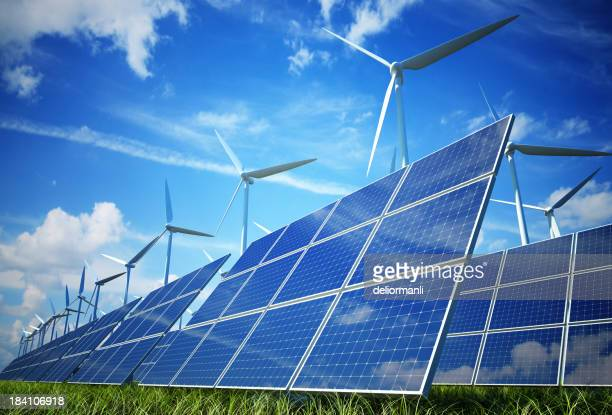 Wind turbines and solar plates making green energy