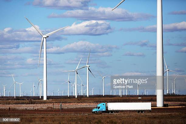 Wind turbines are viewed at a wind farm on January 21 2016 in Colorado City Texas Wind power accounted for 83 percent of the electricity generated in...