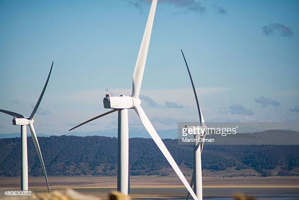 Wind Turbines at Capital Wind Farm the largest wind farm in New South Wales 30 kilometres north east of Canberra are seen on July 14 2014 in...