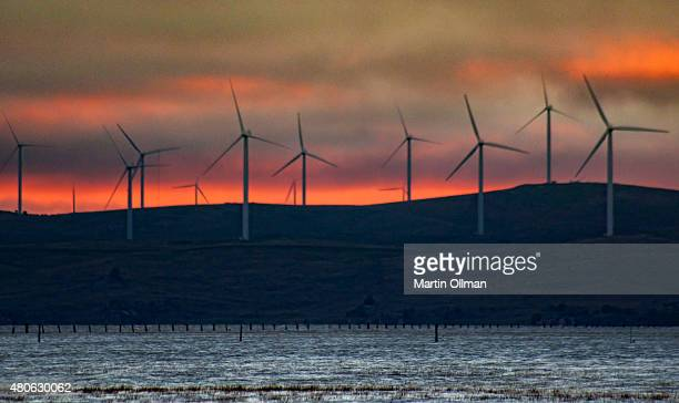 Wind Turbines at Capital Wind Farm the largest wind farm in New South Wales 30 kilometres north east of Canberra are seen on April 25 2012 in New...
