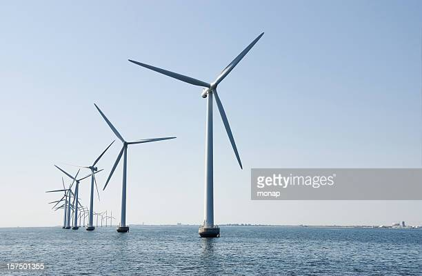 Wind turbines at sea outside Copenhagen,Denmark