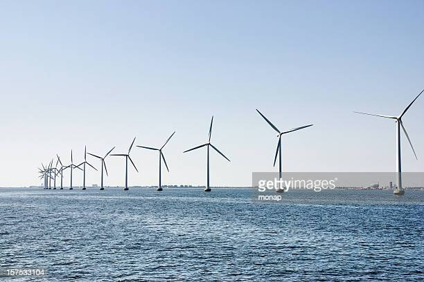 Wind turbines at the ocean