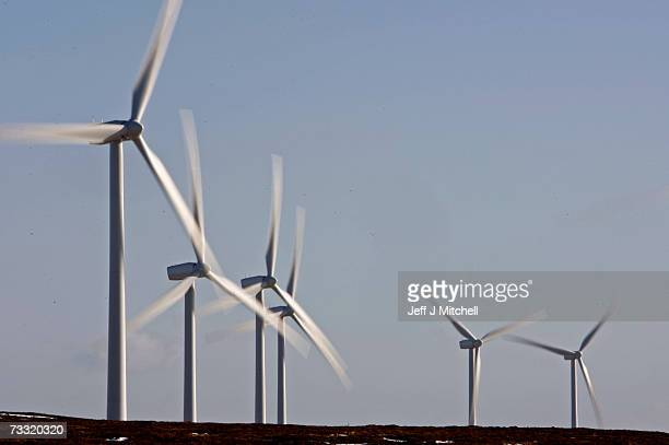 Wind turbines dominate the skyline at the Braes of Doune windfarm February 14 2007 in Stirling Scotland The government has set a target for 10% of...