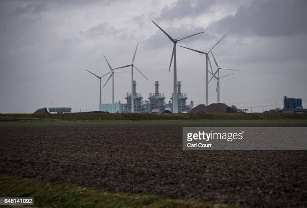 Wind turbines dot the landscape next to a power station on February 23 2017 in Eemshaven Netherlands The Dutch will vote in parliamentary elections...