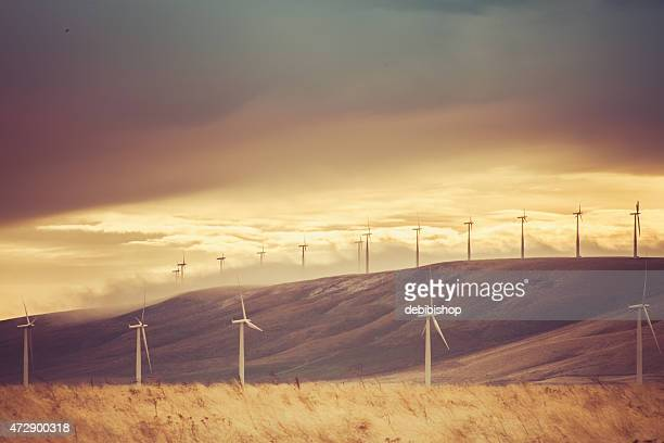 Wind turbines, hills and sky - Nature landscape