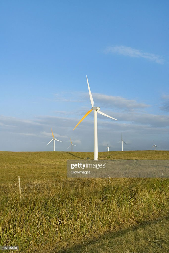 Wind turbines in a field, Pakini Nui Wind Project, South Point, Big Island, Hawaii Islands, USA : Stock Photo
