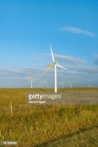 Wind turbines in a field, Pakini Nui Wind Project, South Point, Big Island, Hawaii Islands, USA : Stock Photo