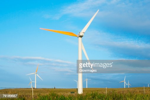 Wind turbines in a field, Pakini Nui Wind Project, South Point, Big Island, Hawaii Islands, USA : Foto de stock