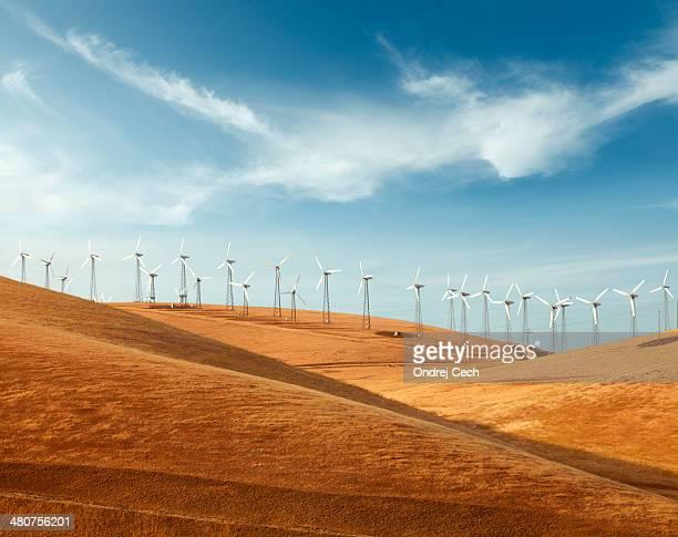Wind turbines in countryside