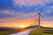 wind turbines in Oiz eolic park at sunset