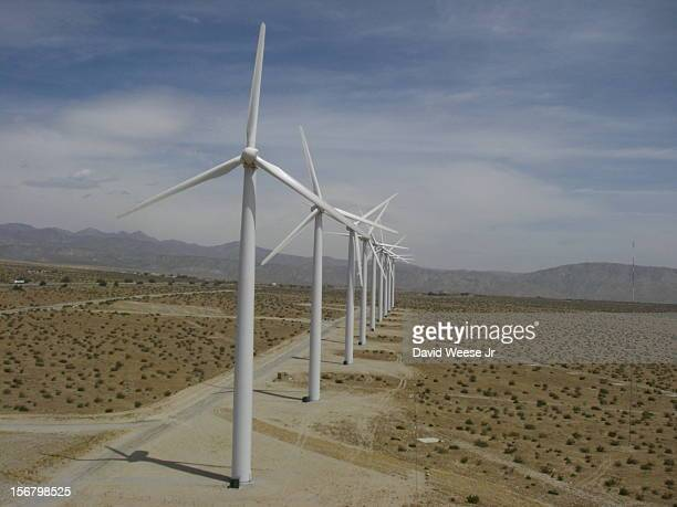 Wind turbines in the California desert near Palm Springs These turbines are only a few of thousands in the immediate area This particular stand is...