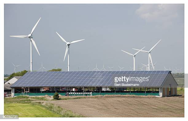 Wind turbines installed on a farm dwarf nearby structures on May 18 2009 in Rodenas North Friesland Germany