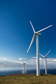Wind turbines on the island of Maui, Hawaii, USA