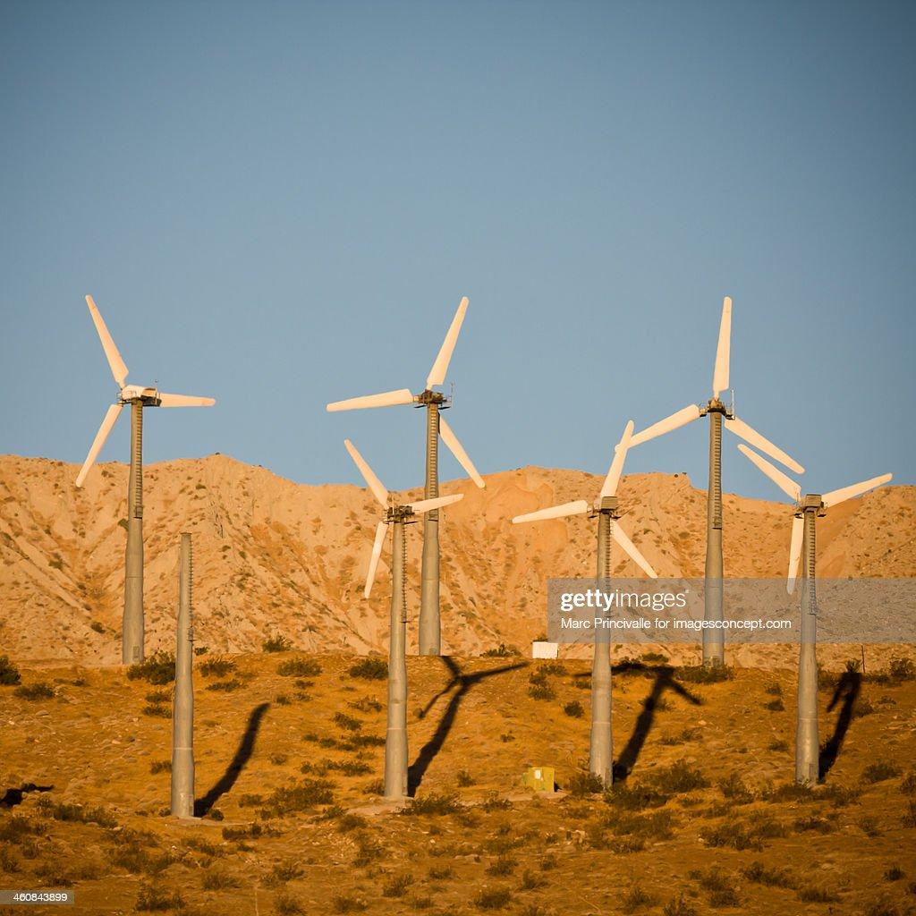 Wind turbines near Palm Springs : Stock Photo