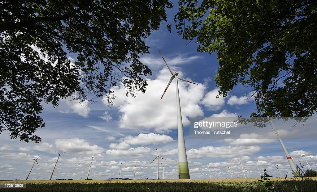 Wind Turbines of an Onshore Wind farm are pictured on July 17, 2013 near Werder, Germany. The European Commission has launched an investigation into Germany's renewable energy law, on the grounds that it breaches EU competition regulations.