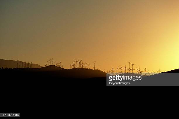 Wind turbines on hills at sunset