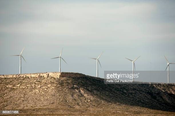 Wind turbines on the mountain near Fort Stockton, Texas State, Pecos County, USA