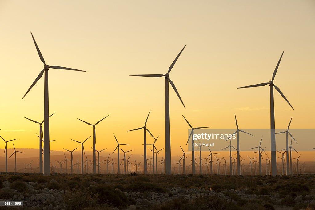 Wind turbines Palm Springs California : Stock Photo