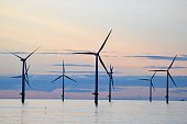 Wind turbines in Seaton, Yorkshire at sunset