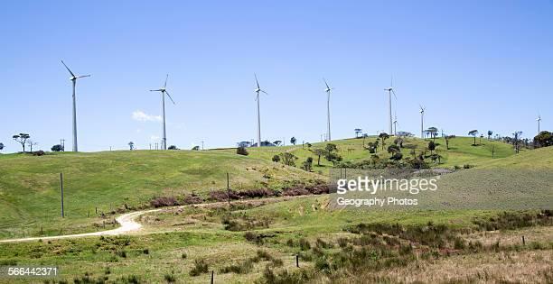 Wind turbines stand on small hill near Nuwara Eliya Central Province Sri Lanka Asia