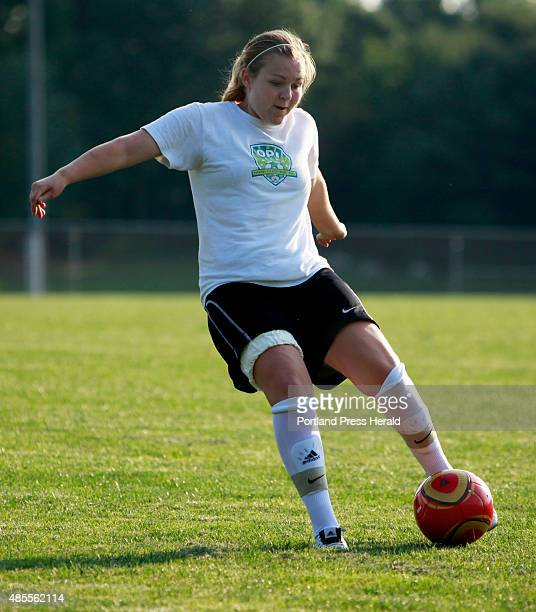 Windham high school girls soccer practice Senior Madison Mauro fires a shot during practice