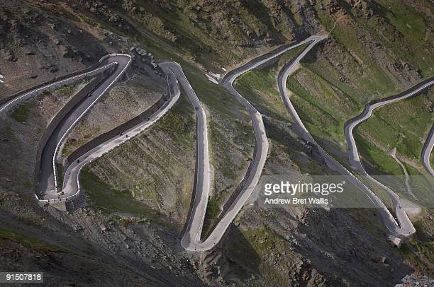 Winding mountainside road in Italy