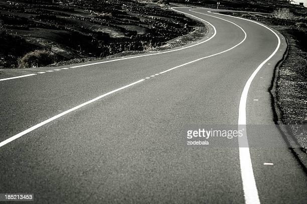 Strada tortuosa in bianco e nero, Isole Canarie