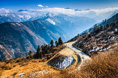Winding Road On Balang Mountain, Sichuan China