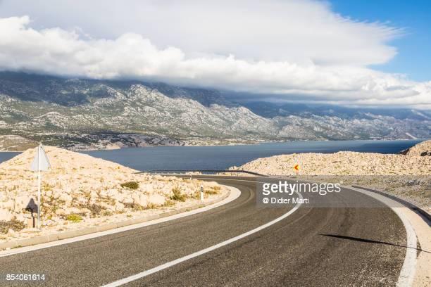 Winding road on the Pag island in Croatia