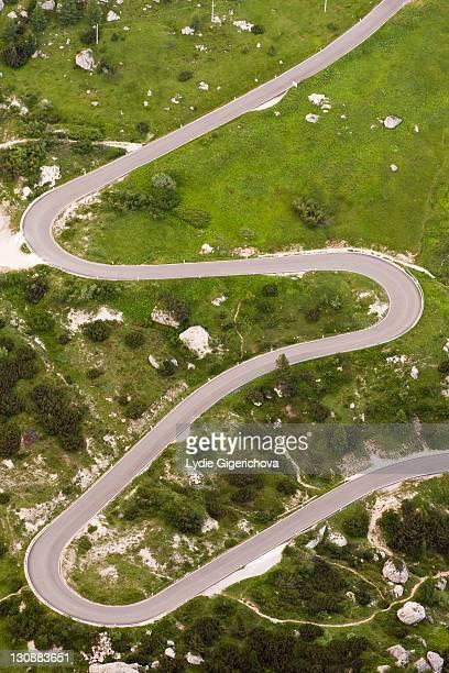 Winding road to Passo Falzarego pass, Dolomites, Alto Adige, South Tirol, Alps, Italy, Europe