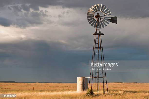 Windmill at sunrise, Karoo, Western Cape Province, South Africa