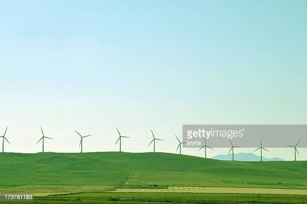 Molino de viento farm near Pincher Creek, Alberta, Canadá.