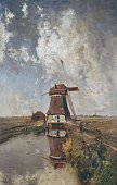 Windmill on a polder waterway also known as In the Month of July 18801889 by Paul Joseph Constantin Gabriel oil on canvas 102x66 cm Netherlands 19th...