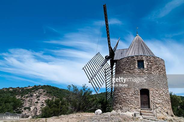 Windmill perched on hill in Provence