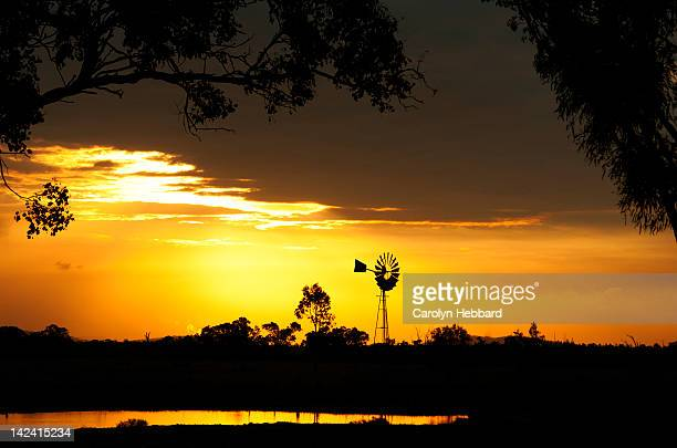 Windmill silhouette at sunset